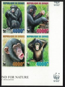 Guinea WWF Chimpanzee 4 imperforated stamps in block 2*2 MI#4222B-4225B