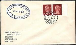 GB SCOTLAND 1970 cover ACS BULLFINCH navy ship cachet - Greenock cds.......13755