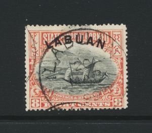 LABUAN NORTH BORNEO 1894, 8c perf 14½x14¾, VF USED SG#38 (SEE BELOW)
