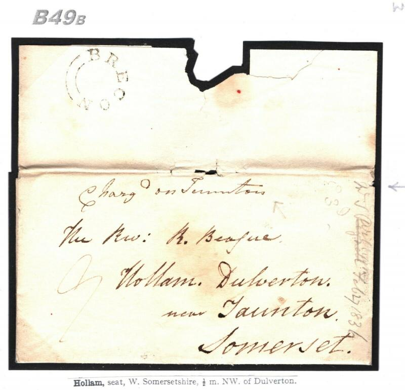 GB WALES Brecon Cover *Charged on Taunton* Somerset 1836 Hollam {samwells}B49b