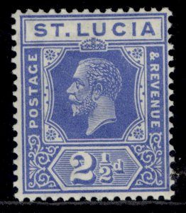 ST. LUCIA GV SG96, 2½d bright blue, LH MINT.