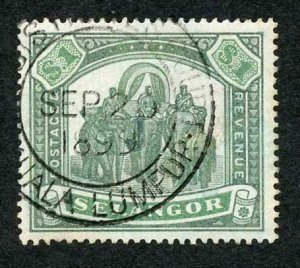 Selangor SG61 One Dollar green and Yellow-green Cat 180 pounds