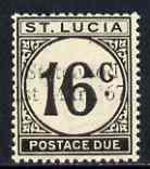 St Lucia 1967 Postage Due 16c 'Statehood' trial opt in bl...