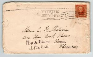 US 1908 Cover to Italy / Hotel Date Backstamp / Sm Edge Tears - Z13439