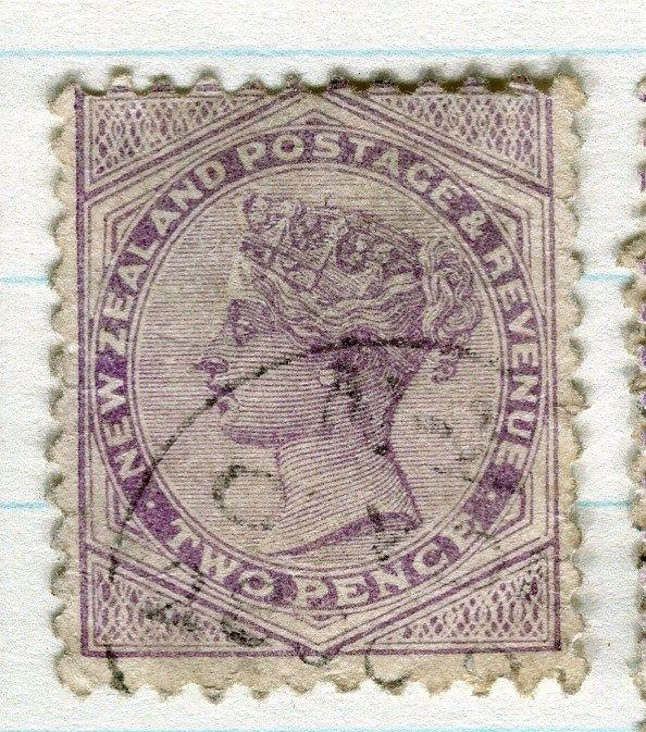 NEW ZEALAND;  1882-1900 QV side facer fine used 2d. value, Perf 12 x 11.5