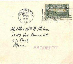HONDURAS Cover USA New Orleans *PAQUEBOT* Minnesota St Paul 1931 {samwells} A118