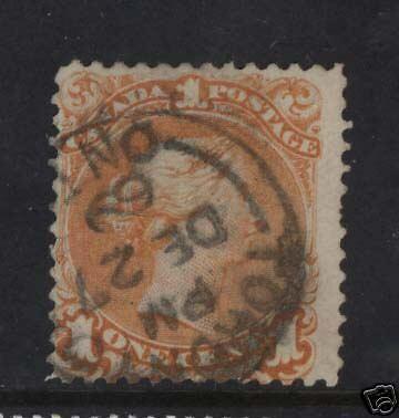 Canada #23 Used With Dec 27 1869 S.O.N. CDS Cancel