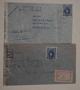 BOLIVIA  2 CENSORED 1940's BOTH REGISTERED TO USA