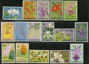 Barbados Sc # 396-411 (16 — No 404C 406B) 1974 Orchideen Original Set Og Mint LH
