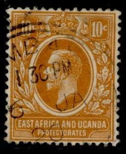 EAST AFRICA and UGANDA GV SG47a, 10c orange, FINE USED.