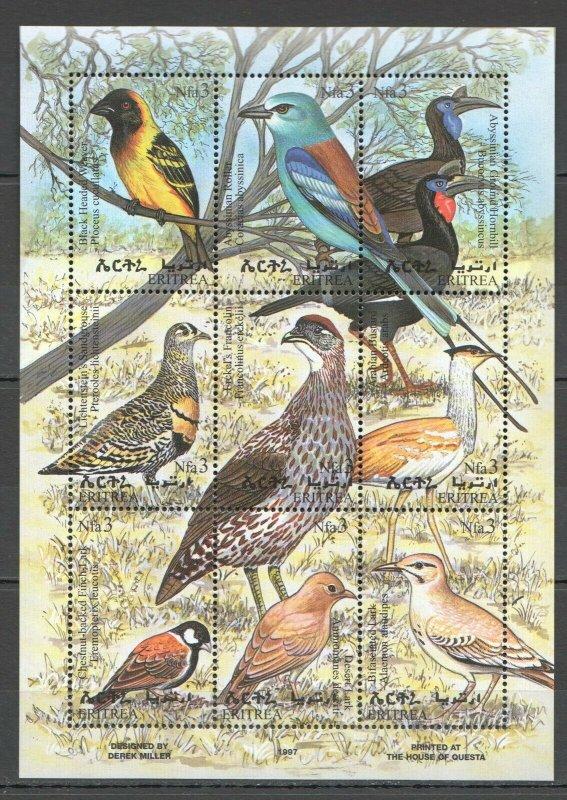 PK121 1997 ERITREA FAUNA BIRDS KB MNH STAMPS