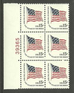 #1597 Ft. McHenry Flag Block of 6 with plate Number 38365 Mint NH