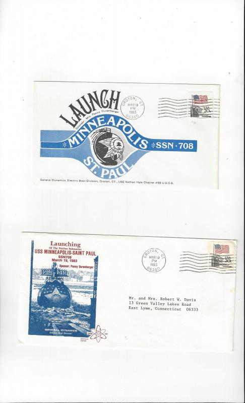 US Navy USS Minneapolis St. Paul SSN 708, 2 Covers, Launch