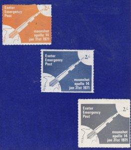 GB289) GB Exeter Emergency Post, Mooshot Apollo 14, 1971. 2/- Set of 3