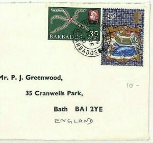 BARBADOS Cover GB MIXED FRANKING 1980 Unusual STAR FISH {samwells-covers}W188