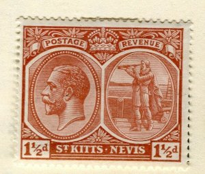 ST. KITTS; 1925-29 early GV portrait issue Mint hinged 1.5d. value
