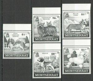 X0916 MONTSERRAT FAUNA PETS DOGS #1100-04 MICHEL 12 EURO 1SET FIX