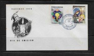DOMINICAN REPUBLIC STAMPS,COVER NAVIDAD 1974 #F39