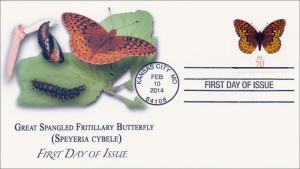 SC 4859, 2014 Great Spangled Fritillary, 70 Cent, FDC  Item 14-023