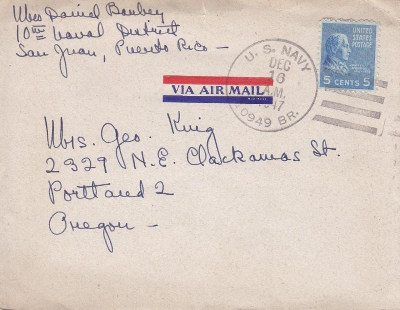 10th Naval District, Puerto Rico to Portland, OR, 1947, Airmail (N3234)