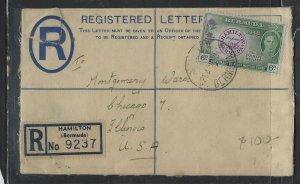 BERMUDA  (PP1302B)  1949 KGVI 3D RLE+ PEROT 6D REG COVER TO USA