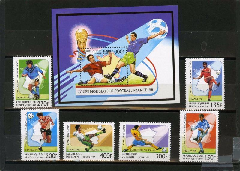 BENIN 1997 SOCCER WORLD CUP FRANCE SET OF 6 STAMPS & S/S MNH