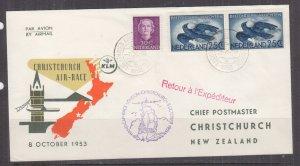 NETHERLANDS, 1953 KLM London-Christchurch, New Zealand Air Race Flight cover.