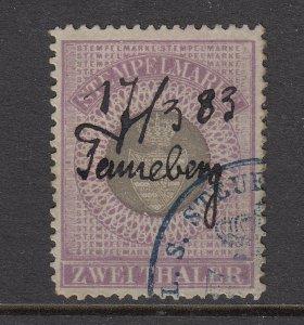 Germany, Saxony Coburg Gotha, 1882 2Th Stempelmarke Revenue, sound, F-VF.