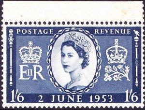 GREAT BRITAIN 1953 QEII 1/6s Indigo Coronation SG535 MH