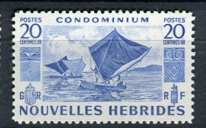 FRENCH; NEW HEBRIDES 1953 early pictorial issue fine Mint hinged 20c. value
