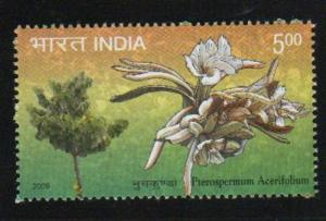 India 2009  # 2318   Flower  Muchukunda  Pterospermum Acerifolium    MNH 02846