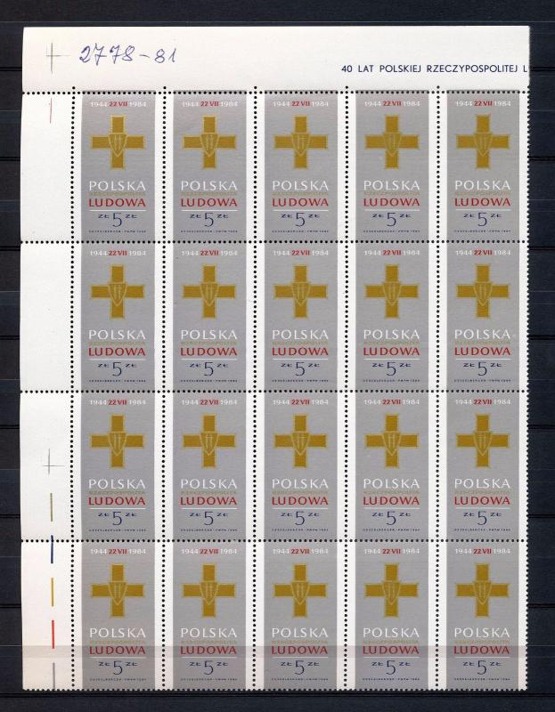 POLAND 1984 Medals Blocks MNH 80 stamps (Go 737