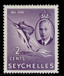 SEYCHELLES GVI SG158, 2c lilac, NH MINT.