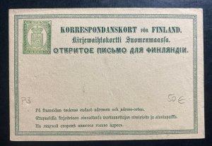 Mint Finland Postal stationery Postcard 8 Pen Green P3