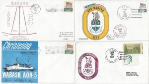 US Naval Cover USS Wabash AOR 5  Keel, Christening, Commissioning 4 Covers