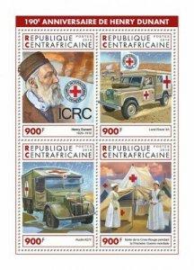 HERRICKSTAMP NEW ISSUES CENTRAL AFRICA Anniv. Henry Dunant Sheetlet