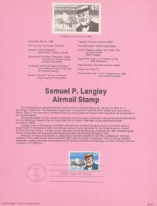 REDUCED!! 1988 SAMUEL P. LANGLEY AIRMAIL FDC SOUVENIR PAGE