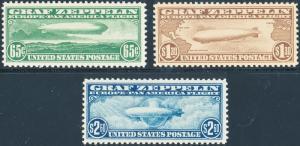 #C13-C15 COMPLETE SET OF 3 ZEPPELIN -- XF OG NH -- CV $1,900.00 KEY WL2622