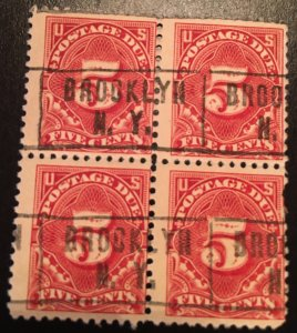 J64 a, Postage Due 5c, 11 perf, NWM, Block, Rose red, Vic's Stamp Stash