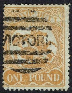 VICTORIA 1884 ST GEORGE STAMP DUTY 1 POUND PERF 12 POSTAL USED