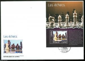 GUINEA 2014 CHESS PIECES  SOUVENIR SHEET  FIRST DAY COVER