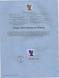 US 2598, EAGLE, SELF-ADHESIVE,  SOUVENIR PAGE