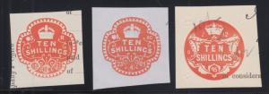 Great Britain, 1895-1912 10sh Embossed Revenues, 3 different, VF