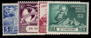 ST. VINCENT GVI SG178-181, anniversary of UPU set, M MINT.