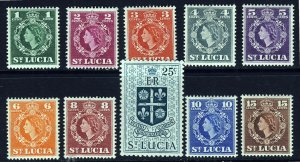 ST LUCIA Queen Elizabeth II 1953-63 Definitive Set to 25c. SG 172 to SG 181 MINT