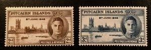 Pitcairn Islands Scott 9-10 KGVI Peace Issue-Mint