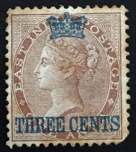 MALAYA Straits Settlements 1867 3c opt India QV 1a SG #3 CV £190 Mint MA1278