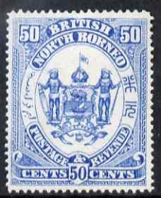 North Borneo 1888 Arms 50c perforated colour trial in blu...