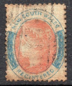 New South Wales: 1883 QVI Registered (6d) SG 127 used