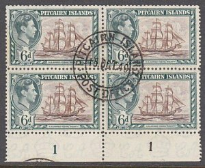 PITCAIRN 1940 GVI 6d plate block of 4 fine used............................29953